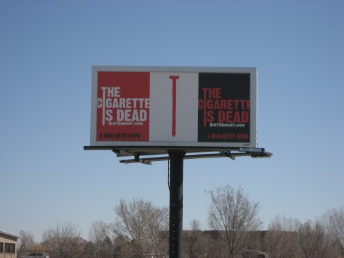 The Cigarette is Dead billboard in Greeley